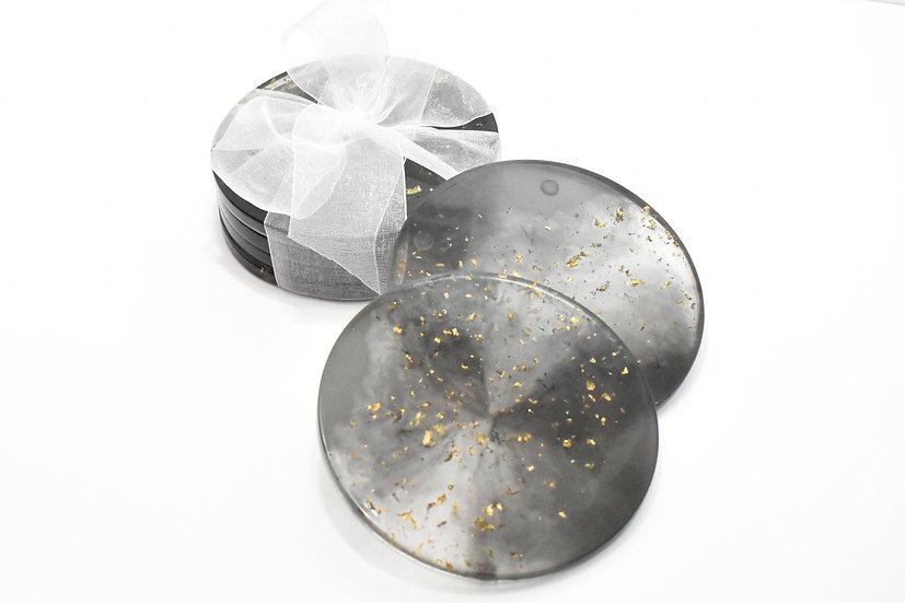 Golden Galaxy Flakes Coasters (4 Set)