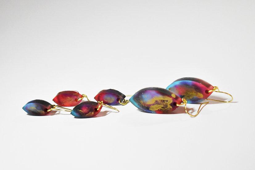 Golden Galaxy Leaf Earrings