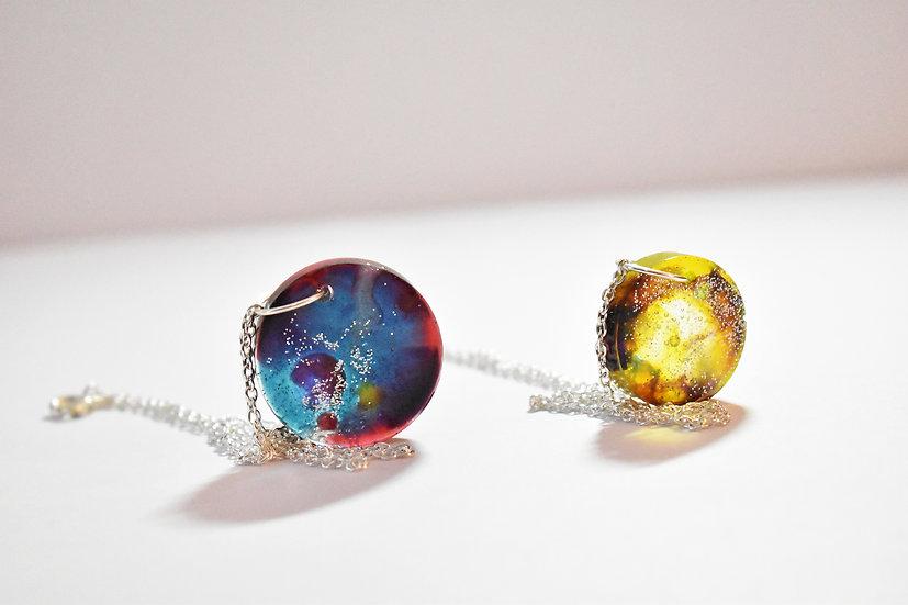 Resin Galaxy Circle Necklace