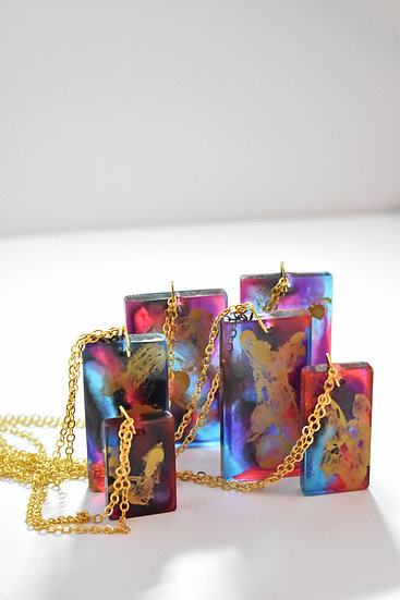 Golden Galaxy Rectangle Necklace