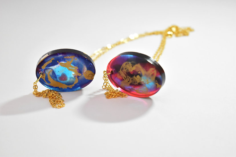 Golden Galaxy Oval Necklace