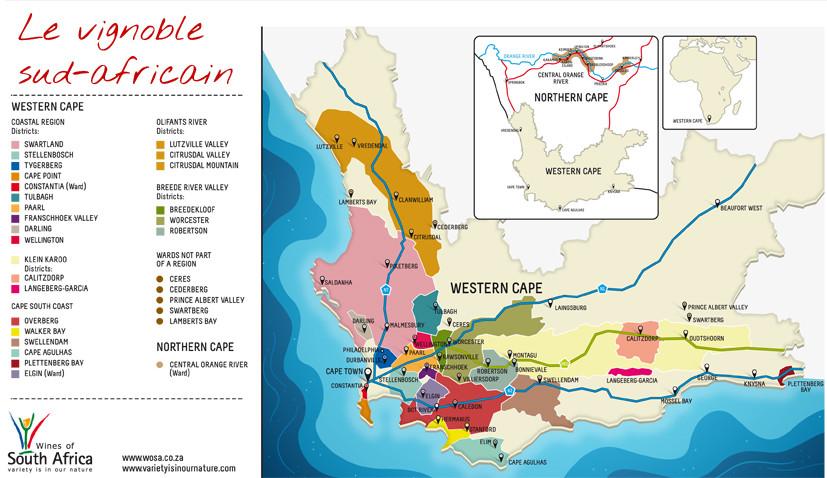 Carte des vignobles d'Afrique du Sud