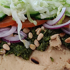 Houmous, Zhoug and Pine Nuts