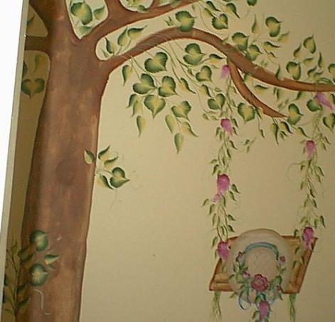 Daughter's bedroom tree swing