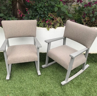 Victorian re-upholstered children's rocking chairs