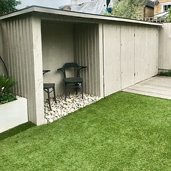 bespoke garden shed designd by lost and found interiors, in Kingston