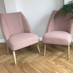 2 beautiful rose pink wool fabric bedroom chairs