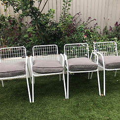 60's white metal garden chairs sourced by lost and found interiors, interior designer, suervicing Kingston and Richmond