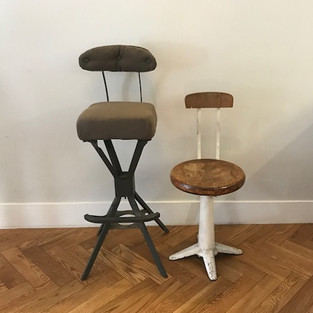 vintage sewing chair and engineers chair