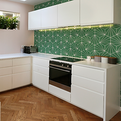 Kitchen spacial planning and colour schemes by Lost and Found Interiors Interior Design services