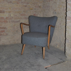 50's grey upholstered cocktail chair