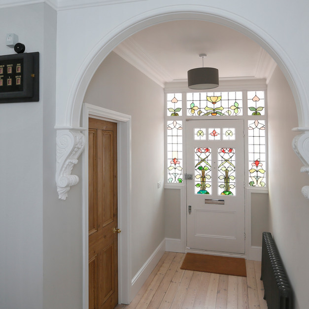 hallway with original glass