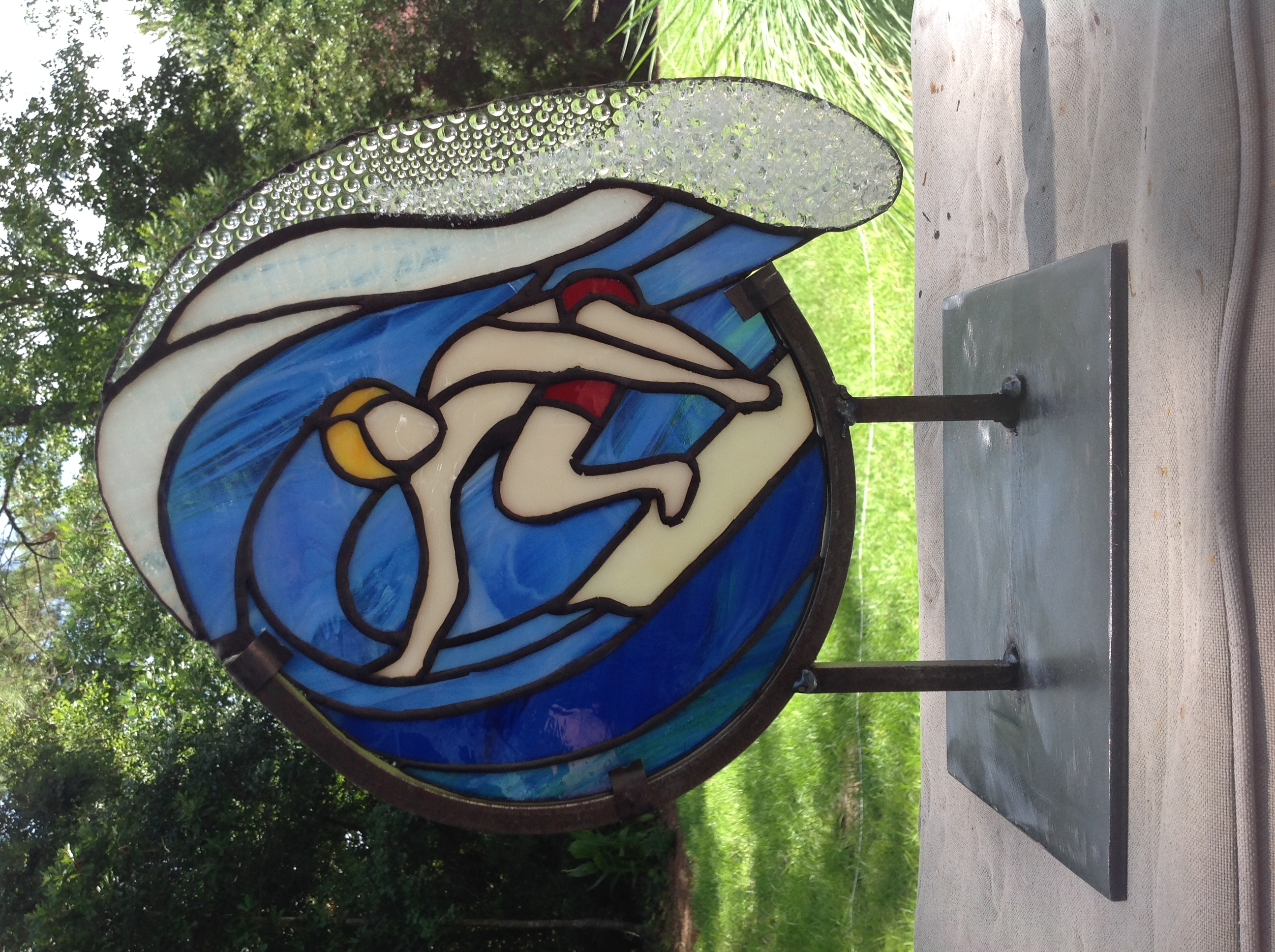 Stained glass surfer