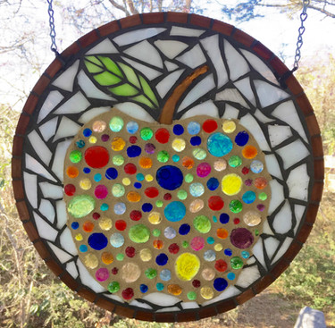 Mosaic stained glass apple panel