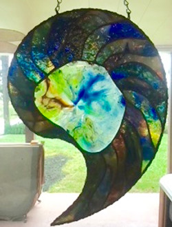 Nautilus shell stained glass