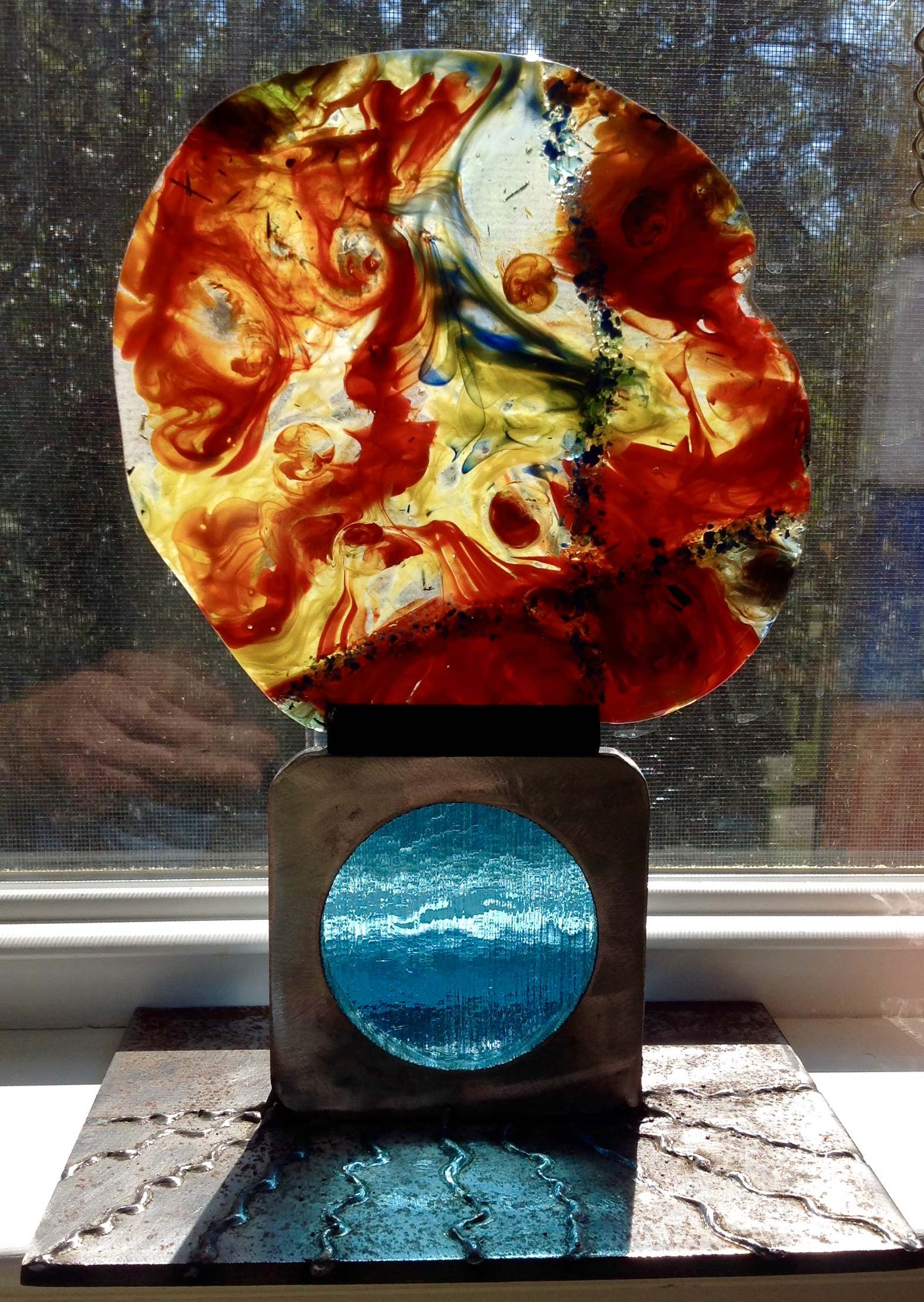 Kiln fused stained glass abstract
