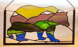 Mountain Bear stained glass panel