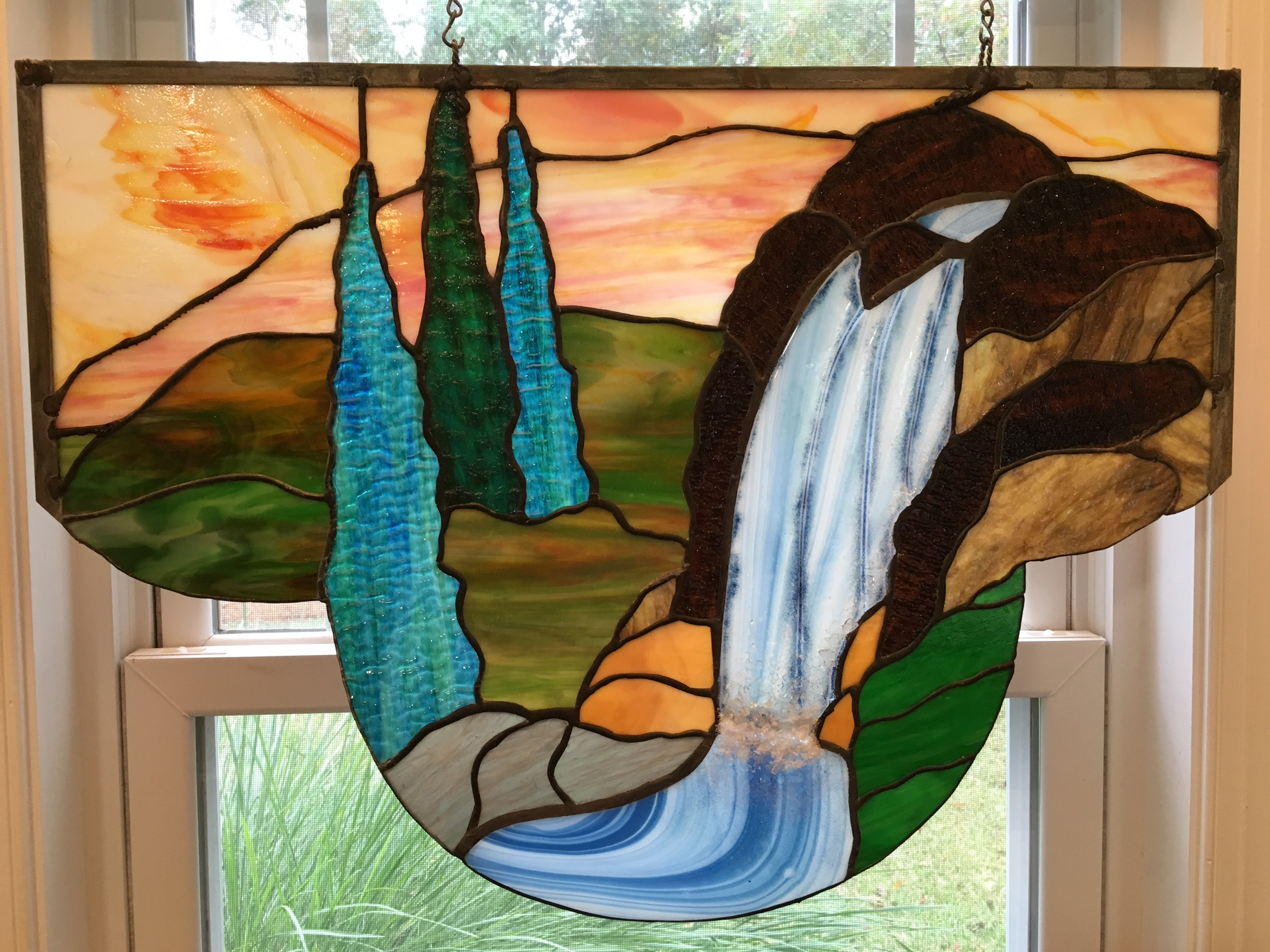 Waterfall stained glass