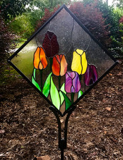 stained glass tulip garden stake