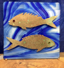 Copper fish on stained glass with custon wooden base