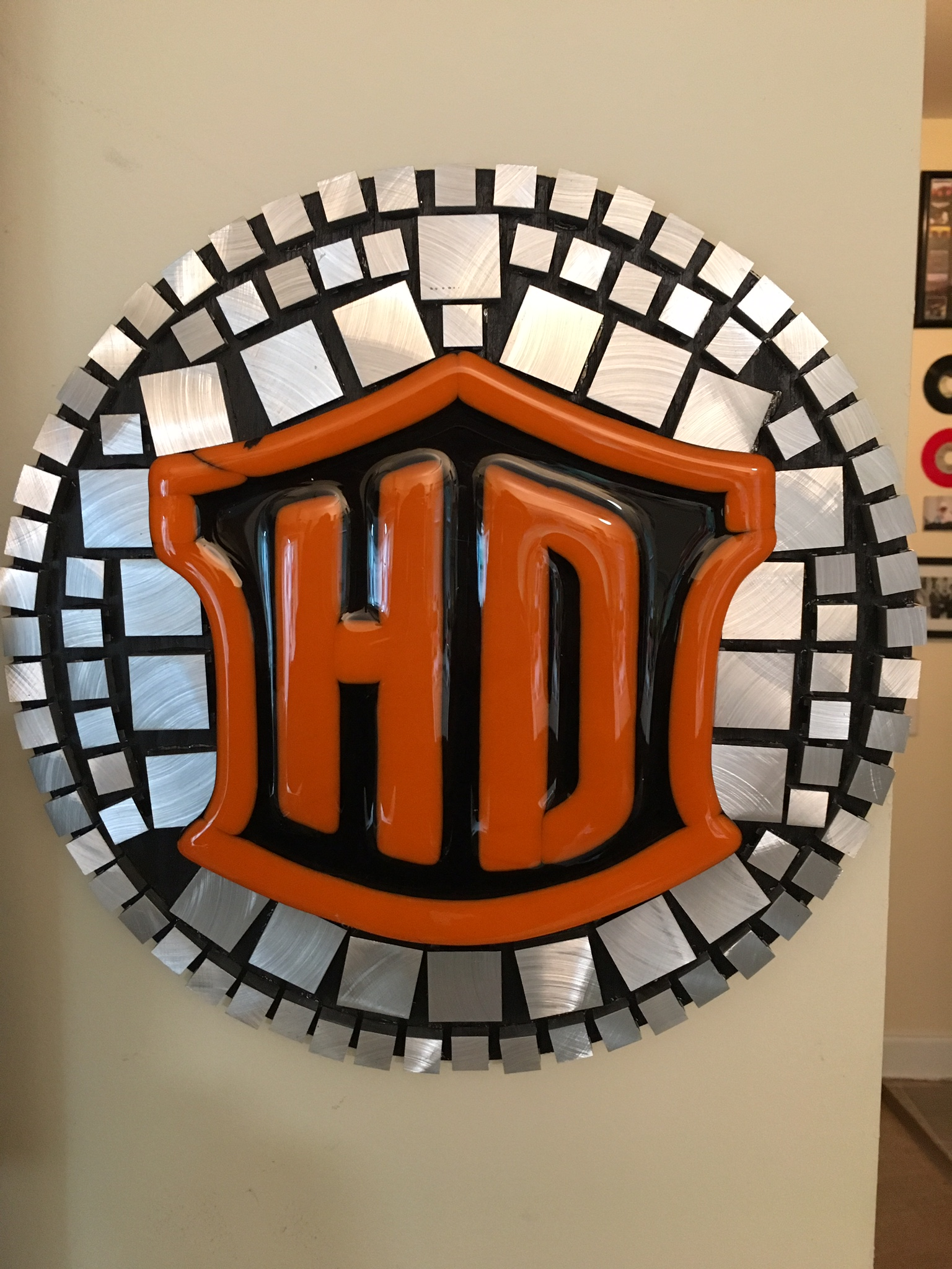 Harley Davidson logo stained glass