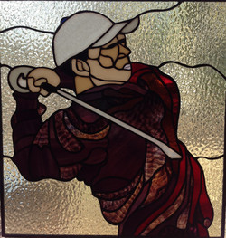 Stained glass Golfer close up