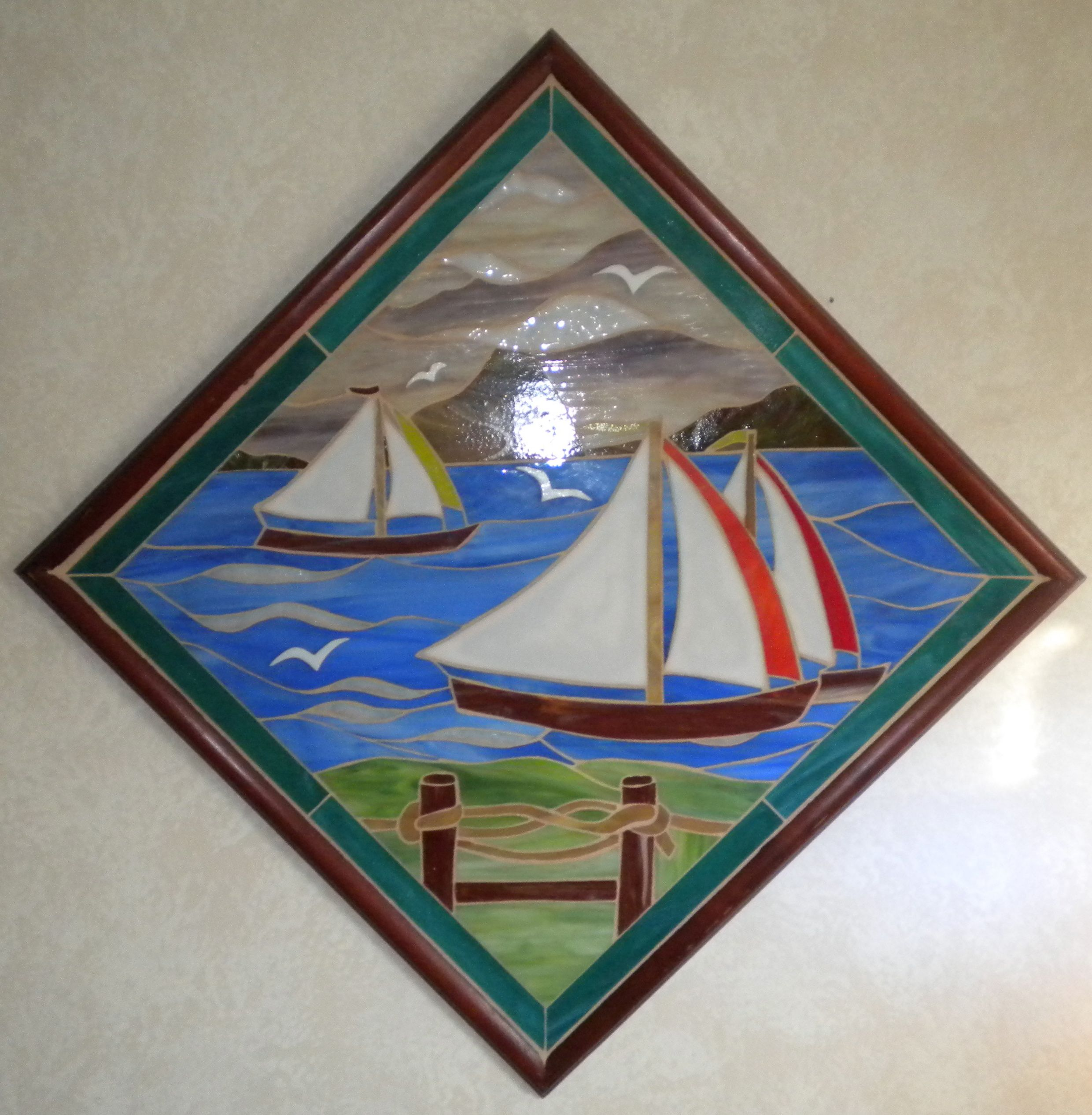 Sailboat mosaic in stained glass