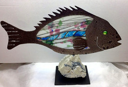 Steel & stained glass fish