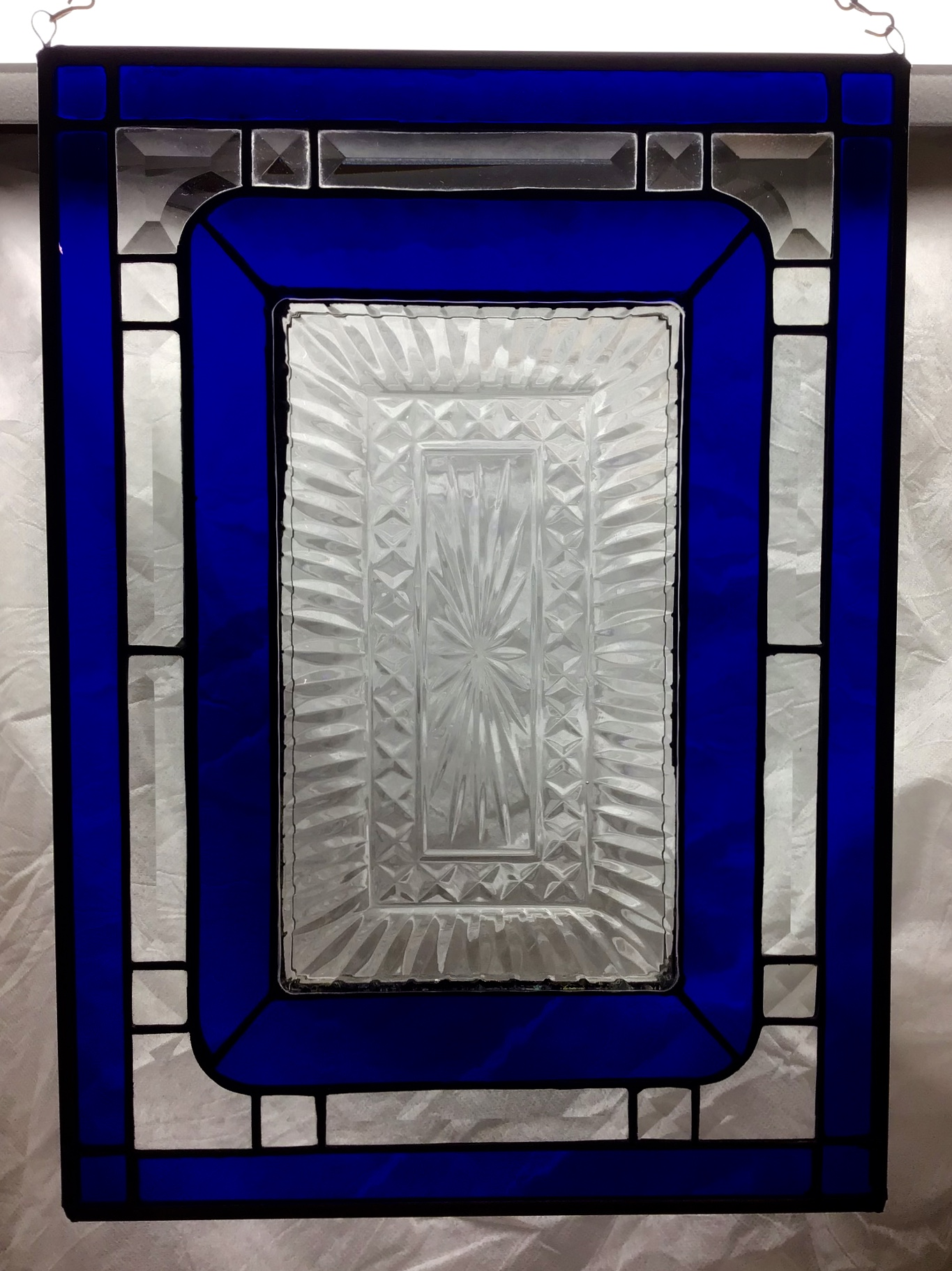Stained glass panel with cut glass p