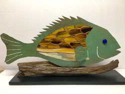 Copper & stained glass fish