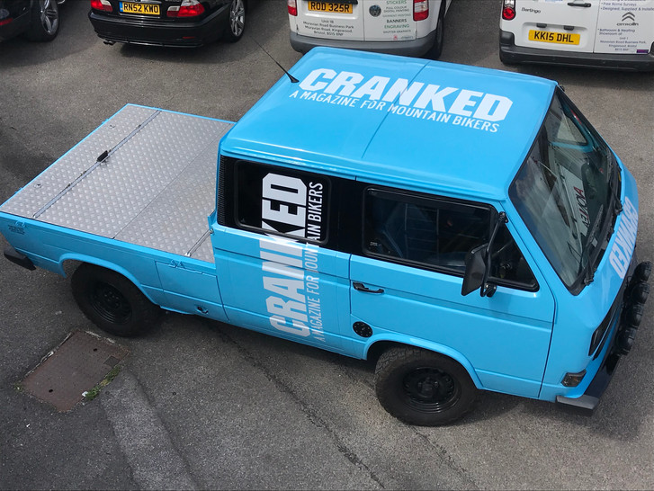 Vehicle graphics for Cranked mountain bike magazine