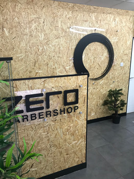 Internal perspex vinyl graphics for Zero Barbershop