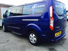 Deep blue coloured transit van, work vehicle graphics for G-Storm based in Bristol