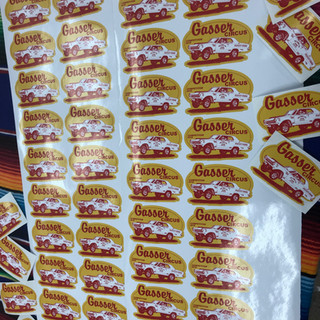 Large batch print of Gasser Circus stickers
