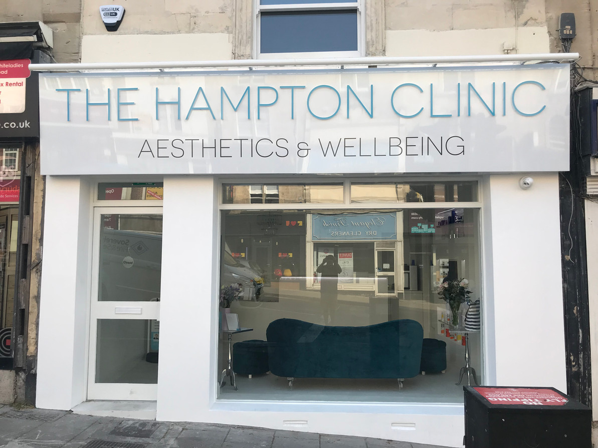 Shop front fasica signage for The Hampton Clinic