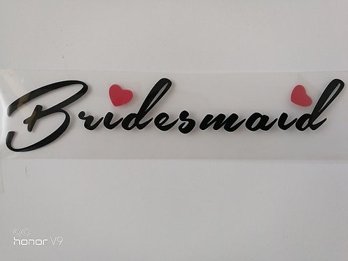 Bridesmaid with red heart vinyl heat transfer