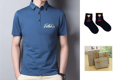 Father's day gift polo shirt and socks with gift box