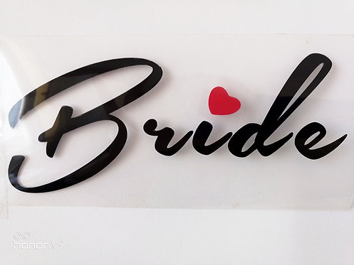 Bride with red heart vinyl heat transfer