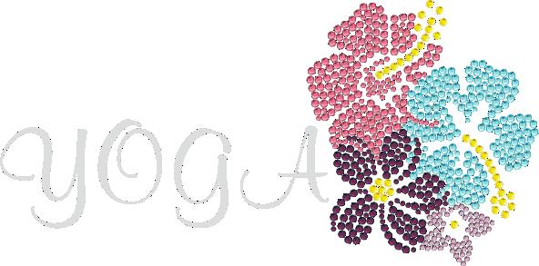 Yoga with flower heat transfer motif