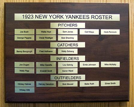 1923 World Series Champions   1923 NEW YORK YANKEES ROSTER