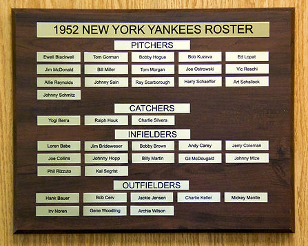 1952 NEW YORK YANKEES ROSTER | 1952 World Series Champions