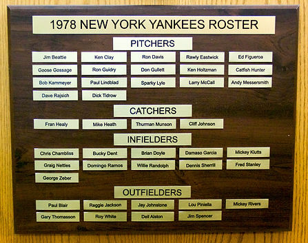 1978 NEW YORK YANKEES ROSTER | 1977 NEW YORK YANKEES WORLD SERIES | 1978 Autographed Yankee Baseball