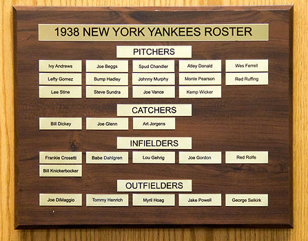 1938 NEW YORK YANKEES ROSTER | 1938 NEW YORK YANKEES WORLD SERIES