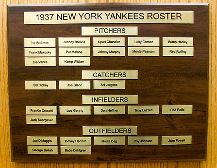 1937 NEW YORK YANKEES ROSTER | 1937 NEW YORK YANKEES WORLD SERIES