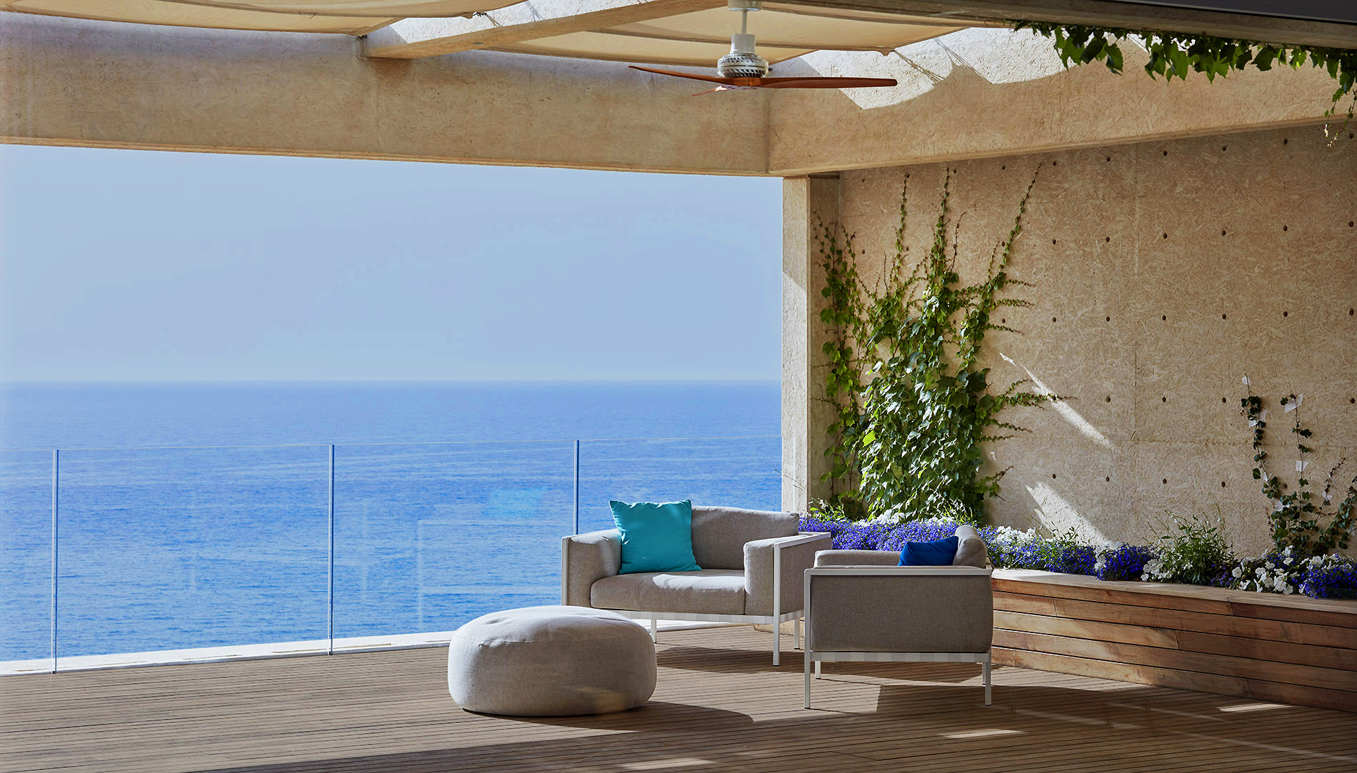 Luxury waterfront apartment terrace