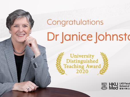 Dr Janice Johnston received the University Distinguished Teaching Award 2020