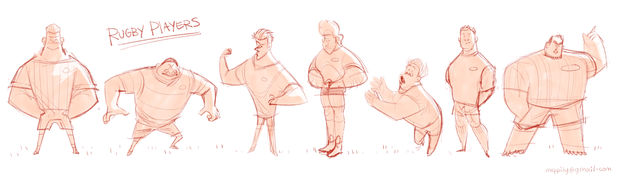 Rugby Players - Character Sketches