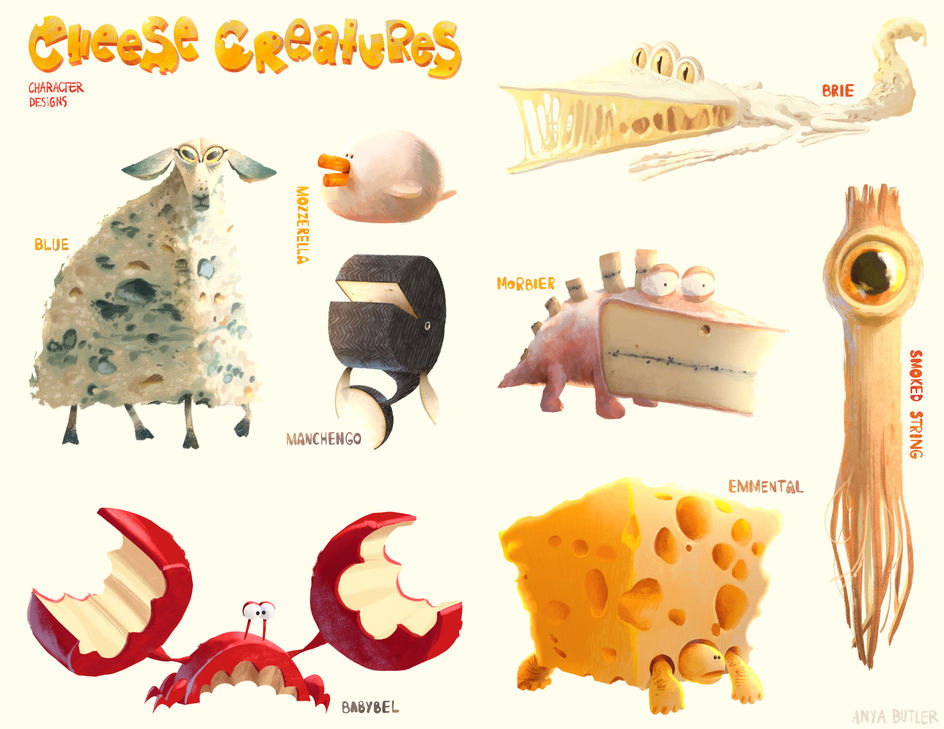 Cheese Creatures - Character Design