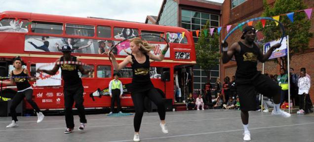The dance village stage at Bristol Harbourside Festival
