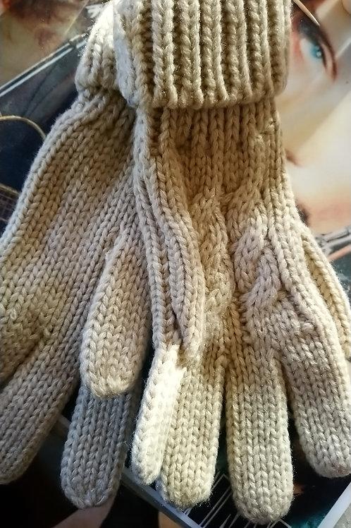 Gants laine beige